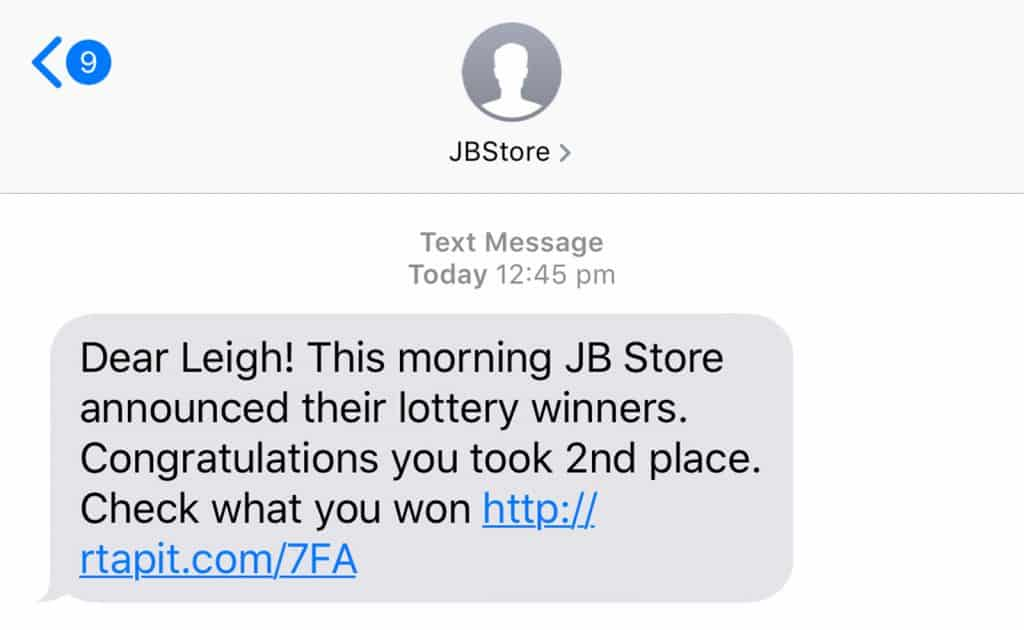You've won a prize scam